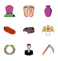 death icons set cartoon style vector image