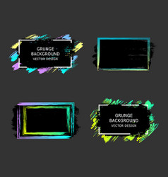 Set of hand painted brush frames quote vector