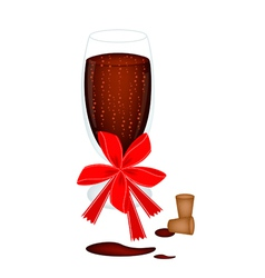 Delicious red wine with bow and ribbon vector