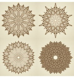 Set of four mandalas beautiful flowers vector