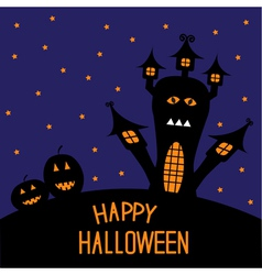 Haunted house and pumpkins starry night halloween vector