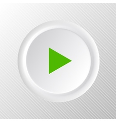 Simple white plastic play button vector