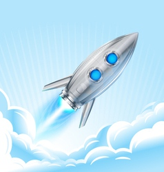 Rocket in sky vector