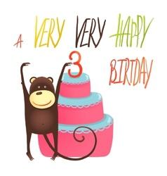 Monkey Cake Three Years Old with Happy Birthday vector image