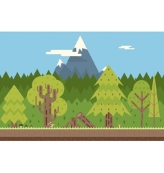 Seamless Wood and Mountain Nature Concept Flat vector image