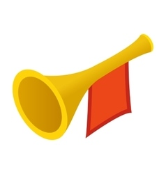 Trumpet with red flag isometric 3d vector