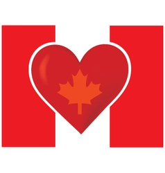 An image of the canadian flag with a big red heart vector