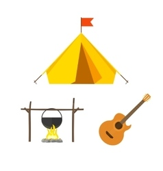 Camping equipment set isolated on white vector