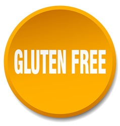 Gluten free orange round flat isolated push button vector