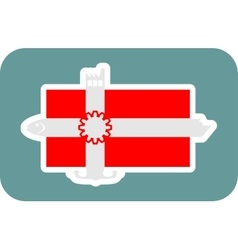 Denmark national flag with icons vector