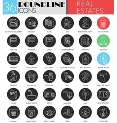 Real estates circle white black icon set vector