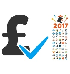 Accept pound icon with 2017 year bonus pictograms vector