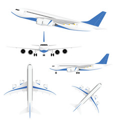 airplane in white and blue color set vector image vector image