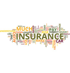 Auto insurance which one text background word vector
