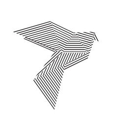 black and white origami pigeon vector image