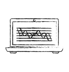 Blurred silhouette cartoon laptop computer with vector