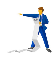 Businessman holding a very long to-do list vector