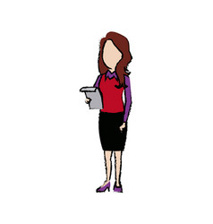 businesswoman standing staff office people vector image vector image