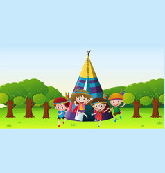 Children playing red indians in park vector
