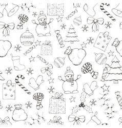 Christmas and new year hand drawn seamles vector image vector image