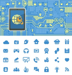 Computer Board with Tablet and Social Media Icons vector image vector image