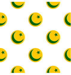 Crescent moon and star pattern flat vector