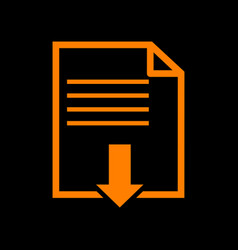file download sign orange icon on black vector image