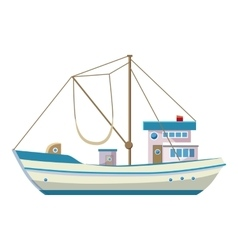 Fishing boat icon cartoon style vector