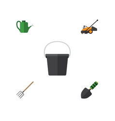 Flat icon garden set of pail bailer hay fork and vector
