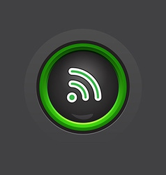 Glossy dark wifi button vector