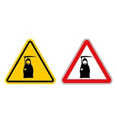 Grim reaper warning sign of attention death danger vector