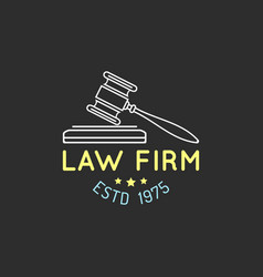 Law office logo with gavel vector