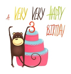 Monkey cake three years old with happy birthday vector
