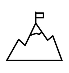 mountains with flag on peak line icon goal vector image