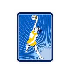 Netball player rebounding jumping for ball vector