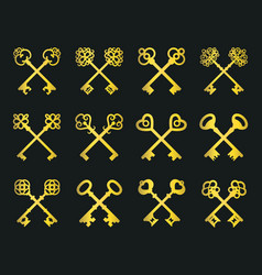 old golden crossed keys set vector image