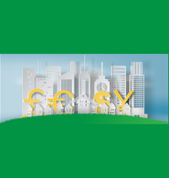 paper art of cityscape and lanscape with business vector image