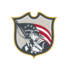 Patriot Holding American Flag Shield Retro vector image vector image