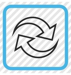 Refresh arrows icon in a frame vector