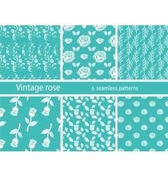 Rose flower set vintage patterns vector