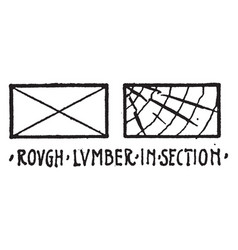 Rough lumber in section material symbol other vector