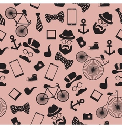Seamless pattern in hipster style vector