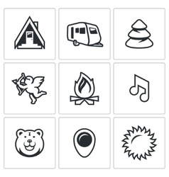 Set of camping icons camp trailer forest vector