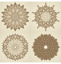 Set of four mandalas beautiful flowers vector