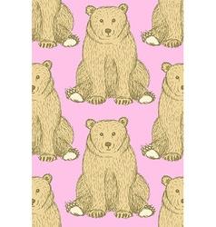 Sketch cute bear in vintage style vector image vector image
