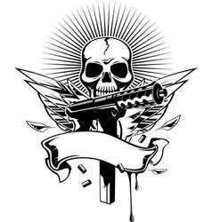 Skull gun vector image vector image