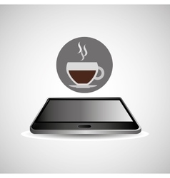 Smartphone black lying cup coffee icon design vector