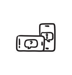 Smartphones with speech squares sketch icon vector