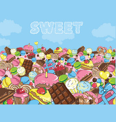 Sweets filled entire landscape to the horizon vector