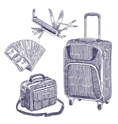 Travel objects drawings set vector image vector image